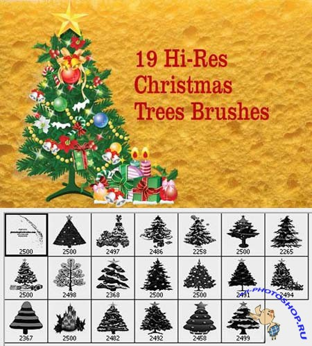 Hi-Res Christmas Tree Photoshop Brushes