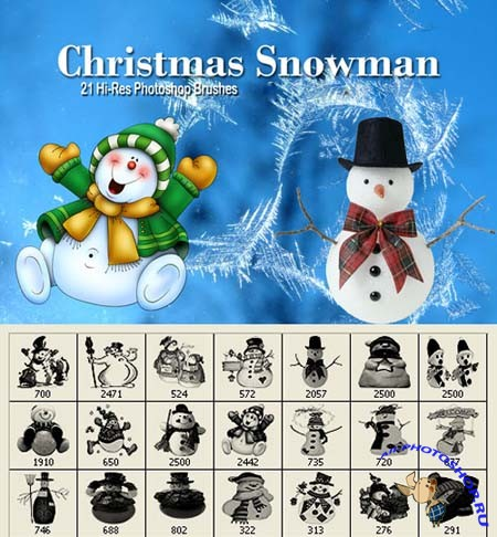 Christmas Snowman Photoshop Brushes
