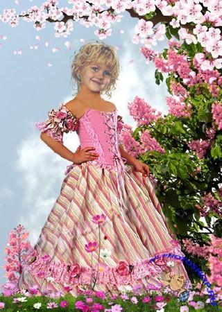 Шаблон для фотошоп девочка в саду