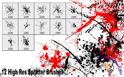 High Res Ink Splatter Brushes