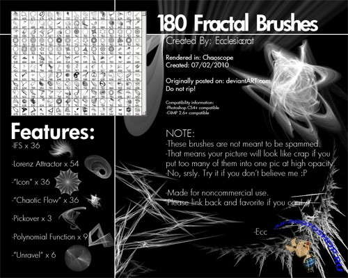 180 Fractal Brushes Set