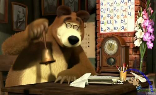 мультфильм маша и медведь. первый раз в первый класс
