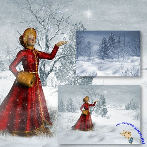 ������� �������������� � ���������� ���� | Snowy Christmas Backgrounds by Jaguarwoman