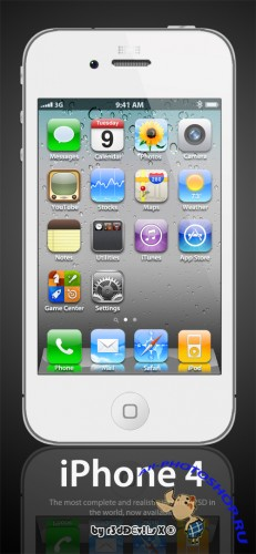 PSD �������� - ������� Apple iPhone 4 White