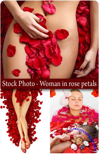 HQ Stock Photo - Woman in rose petals
