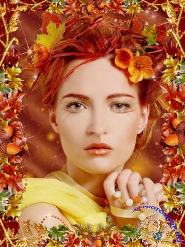 PSD Рамка для Фото -Девушка-осень