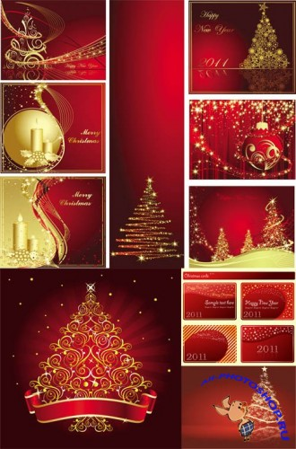 Red Style Christmas Vector Mix