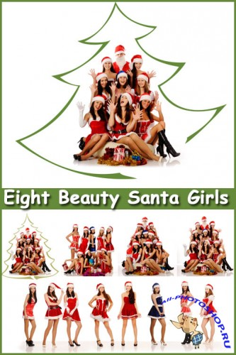 Eight Beauty Santa Girls - Stock Photos