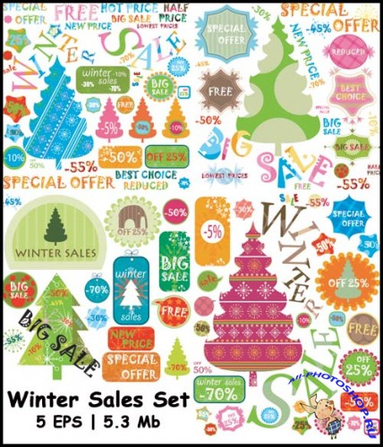 Winter Sales Set - Stock Vectors