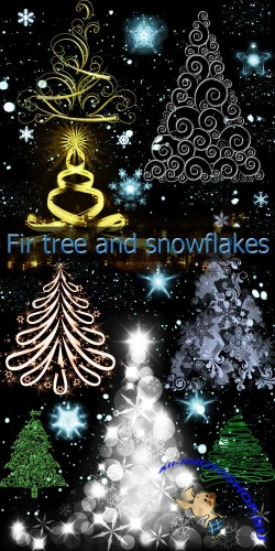 Fir tree and snowflakes brushes