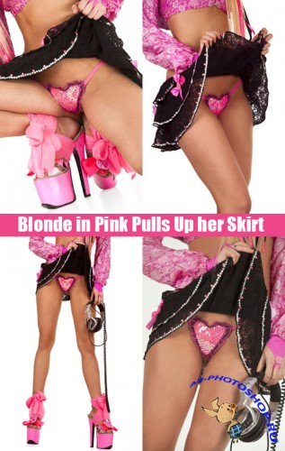 Blonde in Pink Pulls Up her Skirt - Stock Photos