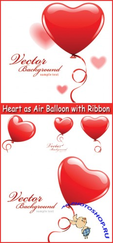 Heart as Air Balloon with Ribbon - Stock Vectors