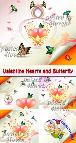 Valentine Hearts and Butterfly