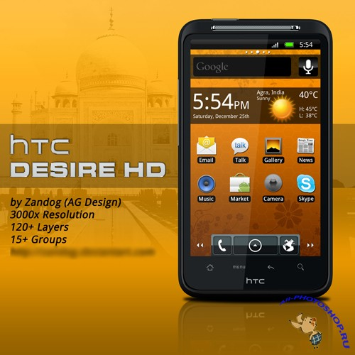 HTC Desire HD .PSD
