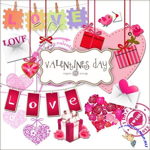 Scrap-kit - Valentines Day Set Elements