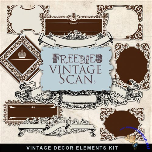 Scrap-kit - Vintage Decor Elements Set