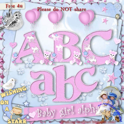 Scrap-kit - Baby girl alpha lowercase