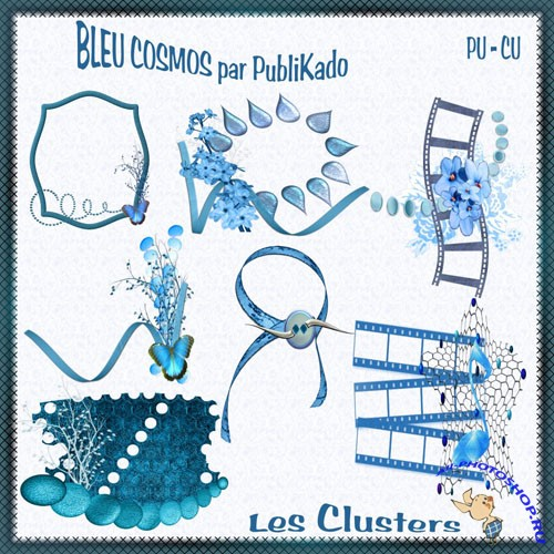 Scrap-kit - Clusters - Blue Cosmos