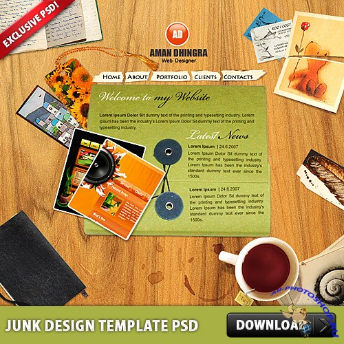 Junk Design Template PSD