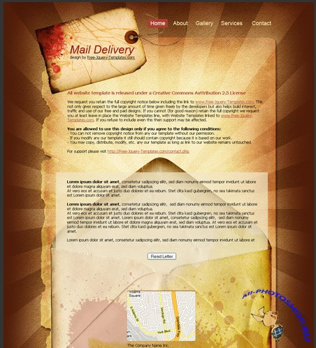 Free Mail Delivery HTML/PSD Template