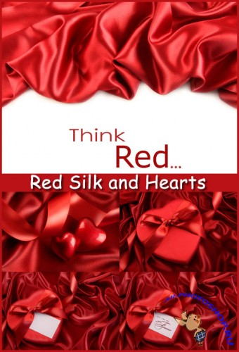 Red Silk and Hearts - Stock Photos