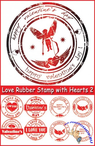 Love Rubber Stamp with Hearts 2 - Stock Vectors