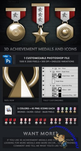 GraphicRiver - 3D Achievement Medals and Icons