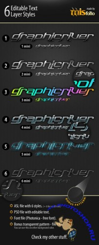 6 Editable Text Layer Styles [GraphicRiver]