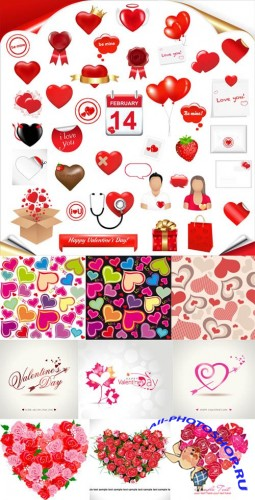 Valentine Day Hearts Vector MegaCollection #3