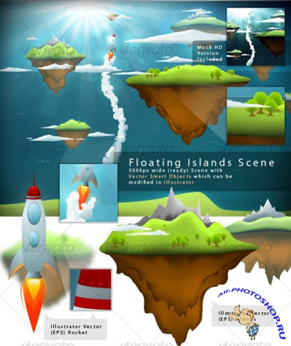 GraphicRiver Beautiful Floating Islands Scene