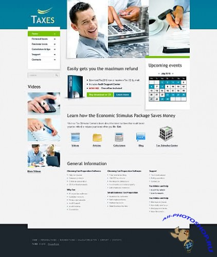 Taxes Tax Free Website Template