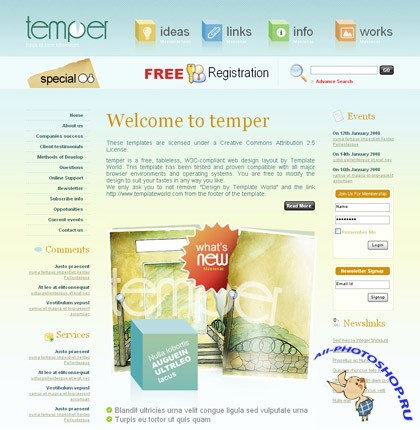 Temper free CSS web template