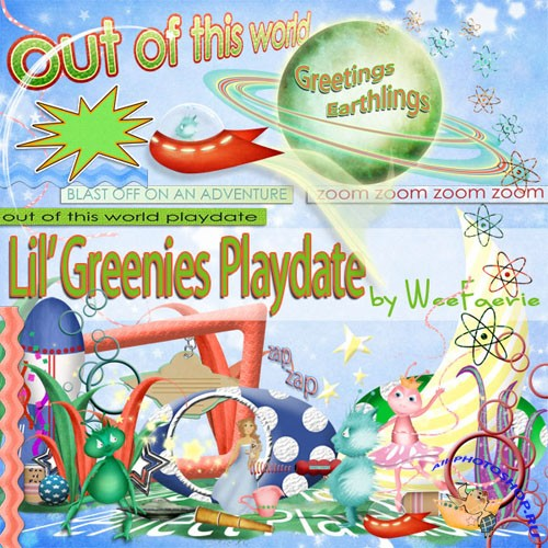 Scrap-set - Lil' Greenie's Playdate Elements