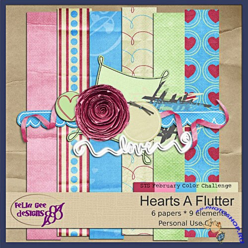 Scrap-set - Hearts a Flutter