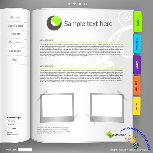Shutterstock - Notebook Web Site Design Vector Template EPS