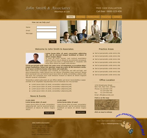 Lawyer's Office Free Web Template