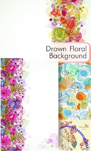 Drawn floral backgrounds - �������� ��������� ���� (eps)
