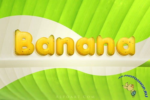 Banana style text effect PSD