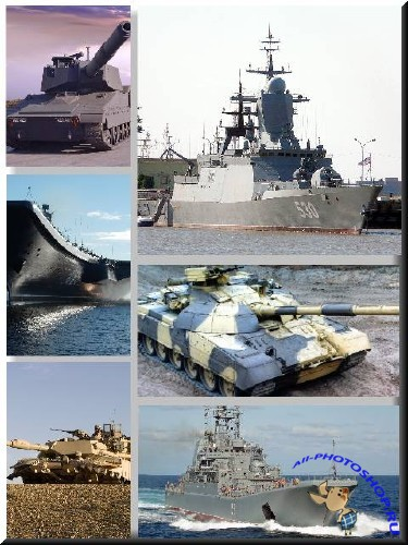 Collection of ships and tanks