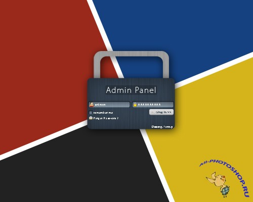 PSD Web Login Panel