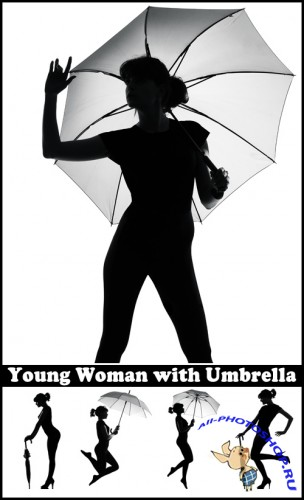 Young Woman with Umbrella - Stock Photos