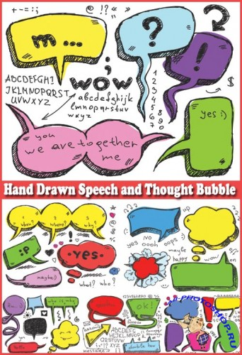 Hand Drawn Speech and Thought Bubble - Stock Vectors