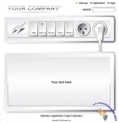 Shutterstock - Website White Electric Layout Template EPS