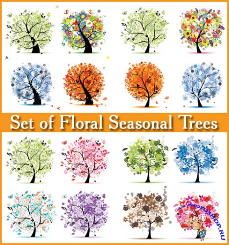 Set of Floral Seasonal Trees - Stock Vectors
