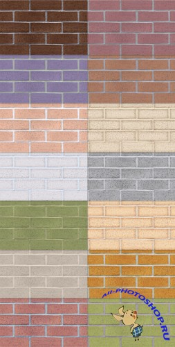 Tileable Brick Texture with 15 Colors