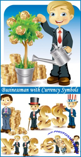 Businessman with Currency Symbols - Stock Vectors