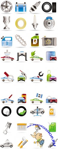 Car Services Icons Vector