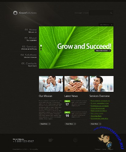 Green Solutions Website Free Template