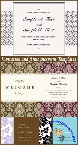 Invitation and Announcement Templates - Stock Vectors