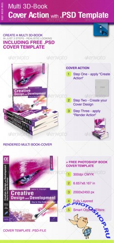 Multi 3D-Book Cover Action with .PSD-Template - GraphicRiver